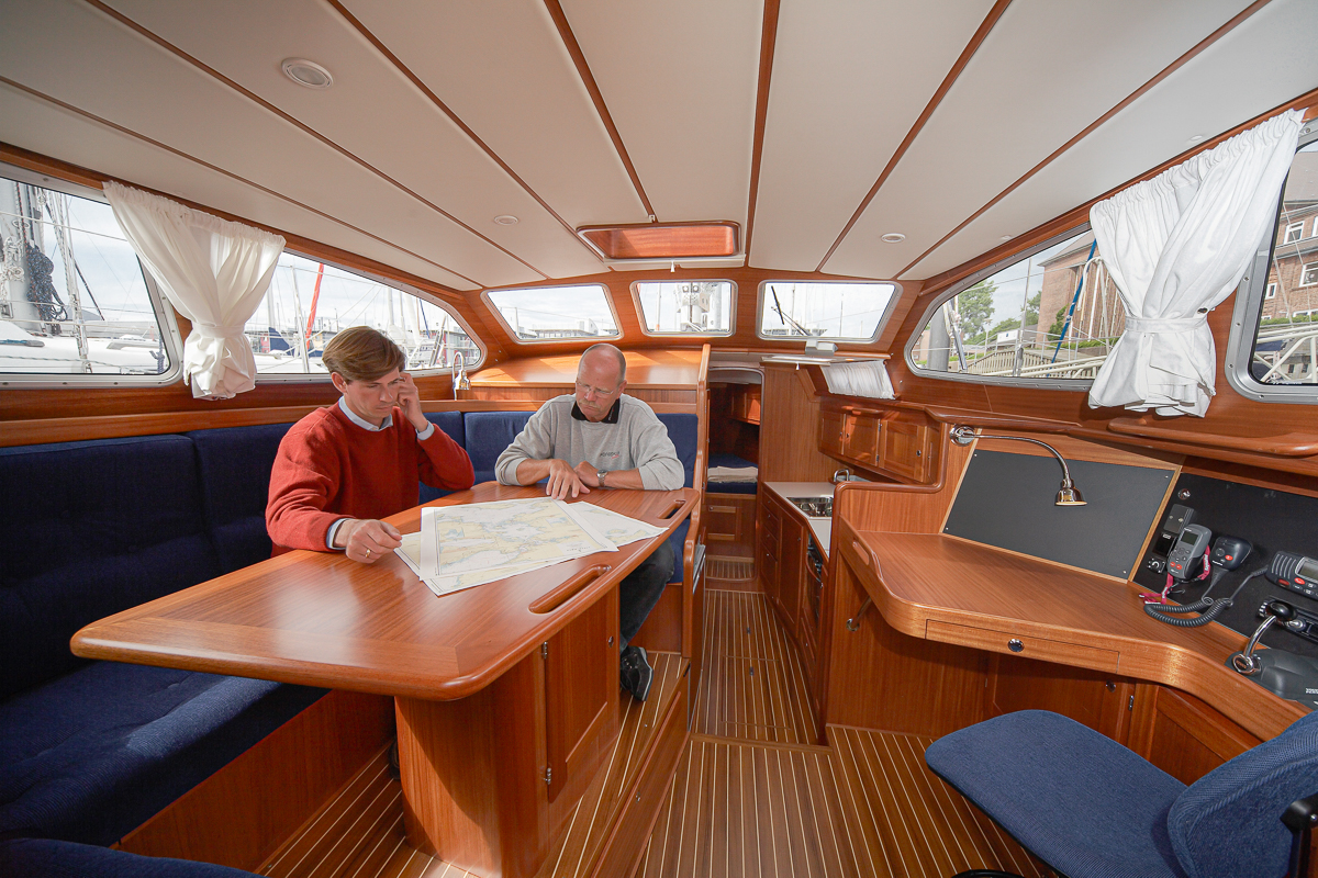 Down below and in shelter for the elements on a Nordship 380 deck saloon