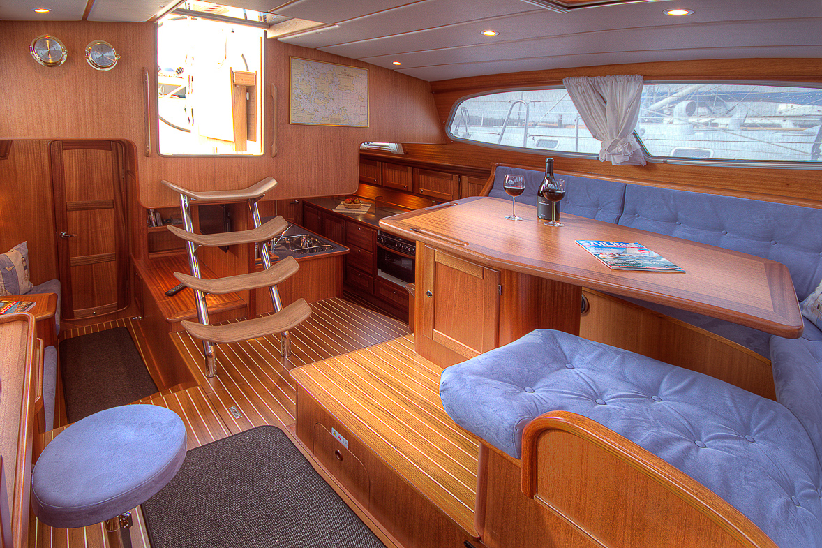 Inside the saloon of a Nordship 430 deck saloon