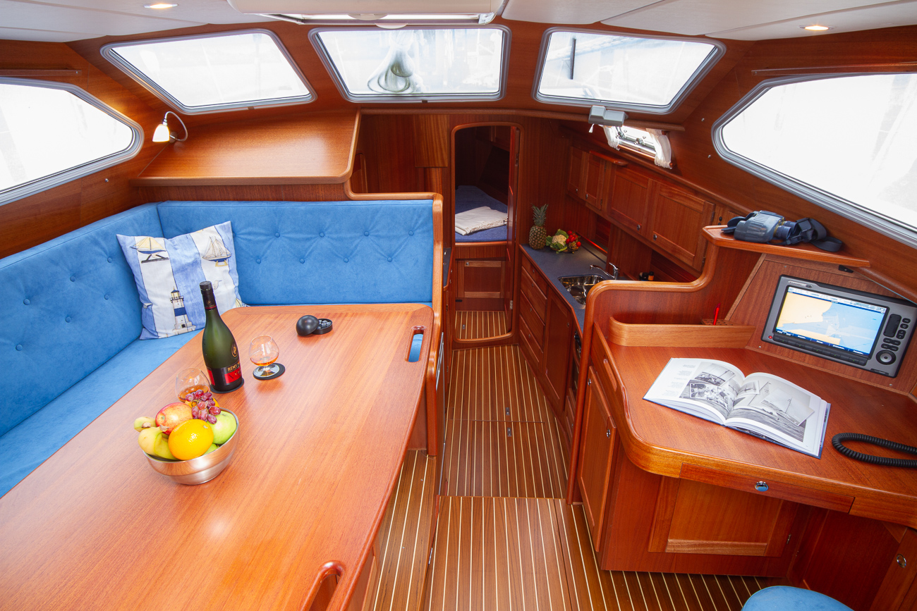Inside the deck saloon of a Nordship 40 DS