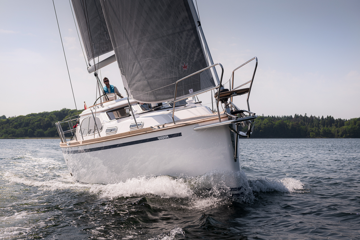 Nordship 380 deck saloon sailing a sunny day