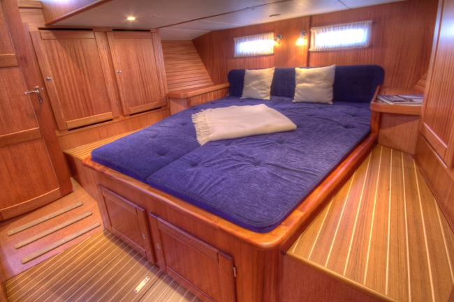 Owners cabin in a custom build deck saloon yacht