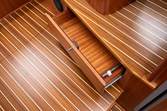 Details in a custom build deck saloon yacht