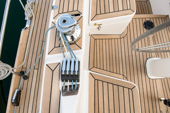 The cockpit of a custom build deck saloon yacht