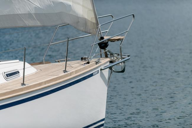 The self tacking jib of a custom build deck saloon yacht