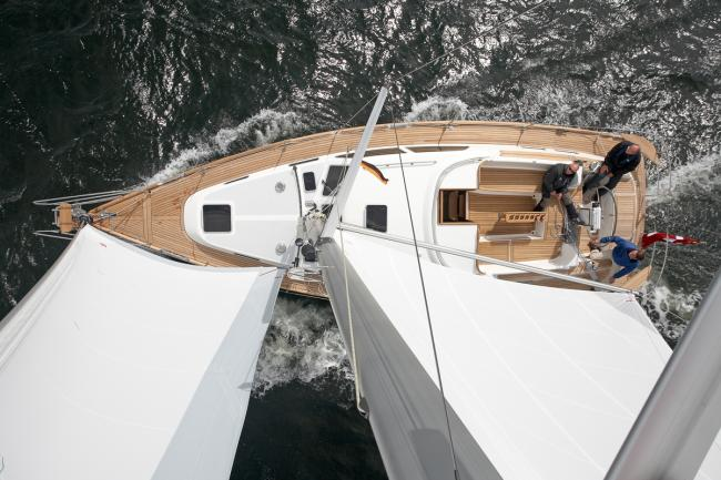 Custom build deck saloon yacht seen from above