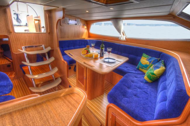 Interior example of a custom build deck saloon yacht