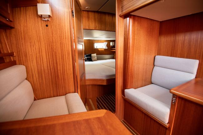 Sofa chairs inside a Nordship 380 deck saloon