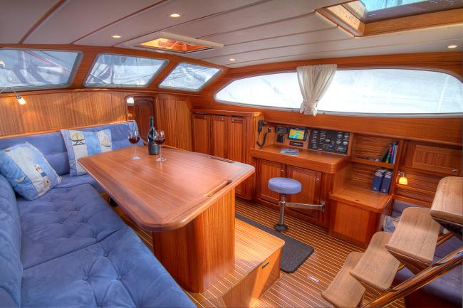 Interior of a Nordship 430 deck saloon