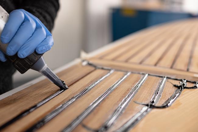Nordship craftsmanship - grouting a teakdeck